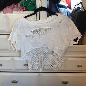 White fishnet T shirt